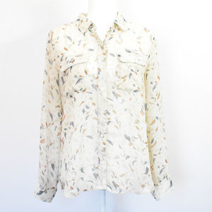 Old Navy Feather Print Button Down Sheer Top M